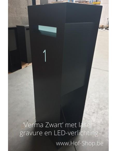 Verma met lasergravure en LED-verlichting  - brievenbus zwart
