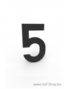 Nummer 5 zwart aluminium (10 cm hoog, 4 mm dik) - Entrada Range Huisnummer