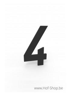 Nummer 4 zwart aluminium (10 cm hoog, 4 mm dik) - Entrada Range Huisnummer