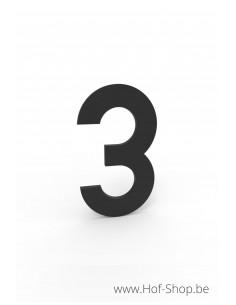 Nummer 3 zwart aluminium (10 cm hoog, 4 mm dik) - Entrada Range Huisnummer