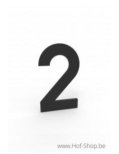 Nummer 2 zwart aluminium (10 cm hoog, 4 mm dik) - Entrada Range Huisnummer