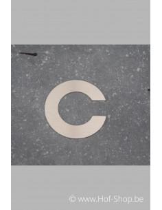 Letter C - inox 8 cm hoog
