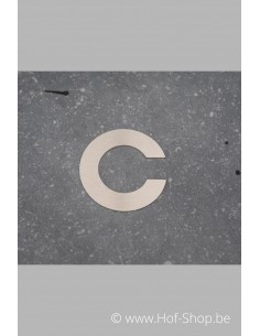 Letter C - inox 5 cm hoog