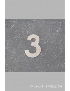 Nummer 3 - inox 5 cm hoog