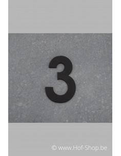 Nummer 3 - zwart inox 5 cm hoog