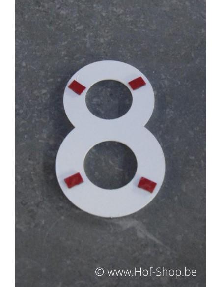 Nummer - wit aluminium 10 cm hoog