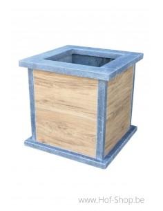 Square Classic Woodlook 40 x 40 x 42 cm - Plantenbak in arduin