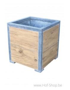 Square Modern Woodlook 40 x 40 x 42 cm - Plantenbak in arduin