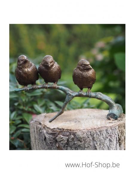 Mussen op tak - bronzen beeld