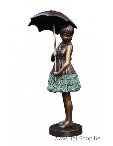 Meisje met paraplu - bronzen beeld