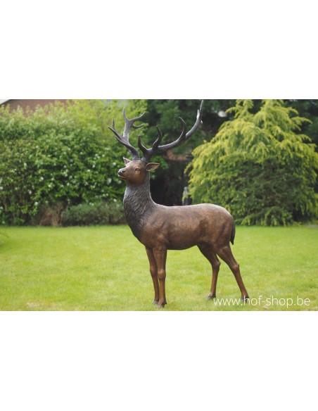 Staand hert - bronzen beeld