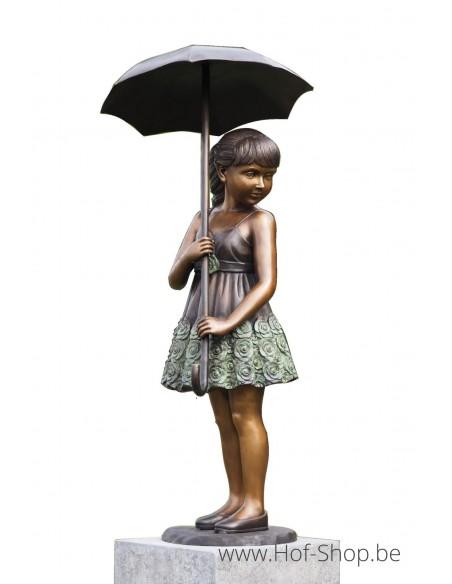 Meisje met paraplu (groot) - bronzen beeld