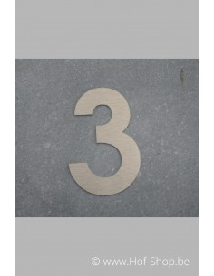 Nummer 3 - inox 8 cm hoog