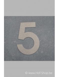 Nummer 5 - inox 8 cm hoog