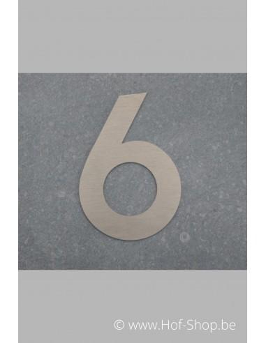 Nummer 6 - inox 8 cm hoog