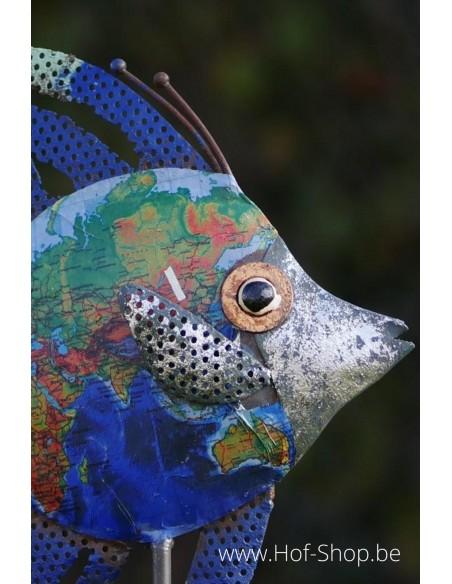 Vis op stok blauw - metalen figuur (MD89784)
