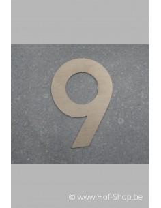 Nummer 9 - inox 8 cm hoog