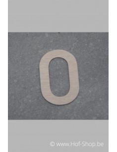 Nummer 0 - inox 5 cm hoog