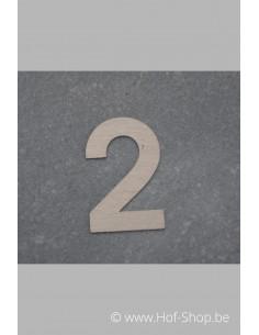 Nummer 2 - inox 5 cm hoog