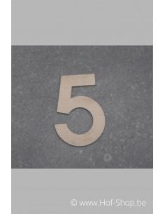 Nummer 5 - inox 5 cm hoog