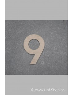 Nummer 9 - inox 5 cm hoog