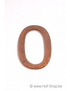 Nummer 0 - cortenstaal 10 cm hoog (Ari)