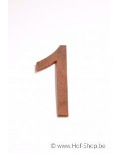 Nummer 1 - cortenstaal 10 cm hoog (Ari)