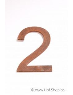 Nummer 2 - cortenstaal 10 cm hoog (Ari)