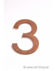 Nummer 3 - cortenstaal 10 cm hoog (Ari)